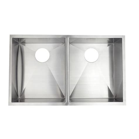 pegasus undercounter stainless steel 33 in 0 hole double
