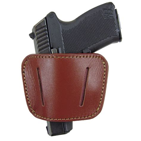 belt slide concealed leather gun holster brown med large
