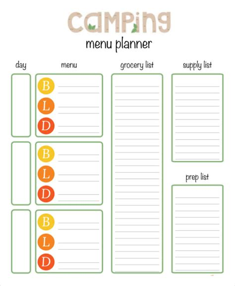 printable menu planning template 9 free word pdf