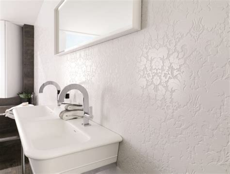 Modern Bathroom Feature Tiles Patterned Feature Tiles Bluebell White Contemporary