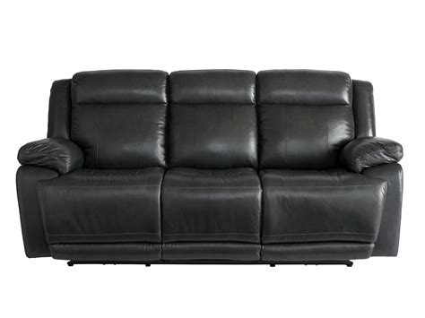 Bassett Leather Sofas Bassett Club Level Evo 3706 P62gd Graphite Leather Power Reclining Sofa With Power