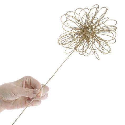 gold glittered whimsical flower pick picks and stems