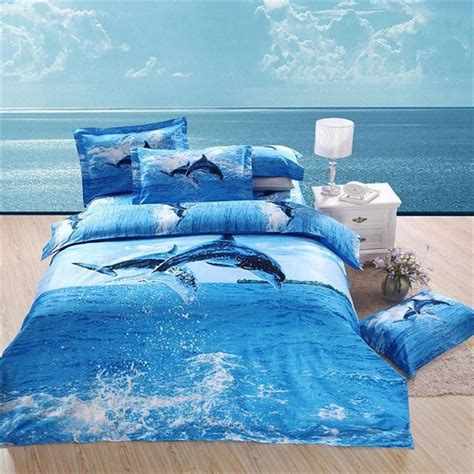 ocean themed comforters 3d print dolphin blue ocean bedding sets 100 cotton queen