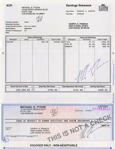 lot detail mike tyson signed payroll check and earnings