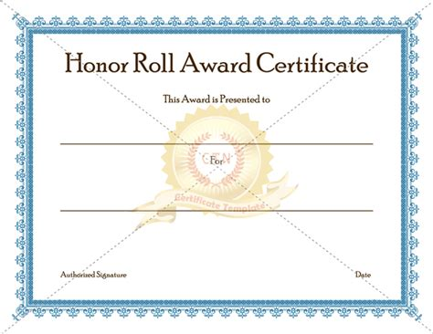 honor certificate template honor roll award certificate template certificate template