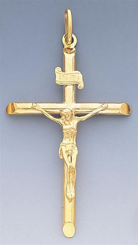 14k gold hollow crucifix pendant 38 5mm w x 68mm h