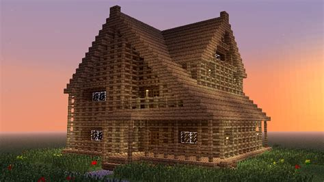 wooden house in minecraft minecraft how to build big wooden house youtube