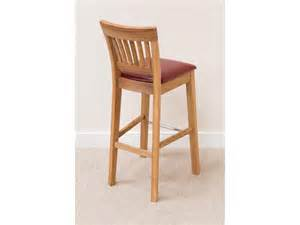 Solid Oak Bar Stools Java Solid Oak Bar Stool With Leather Seat Pad