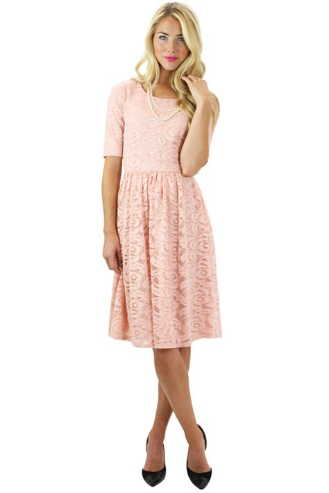 Modest Dresses by Modest Dresses Lace Dress In Pink