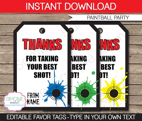 paintball party favor tags thank you tags birthday party