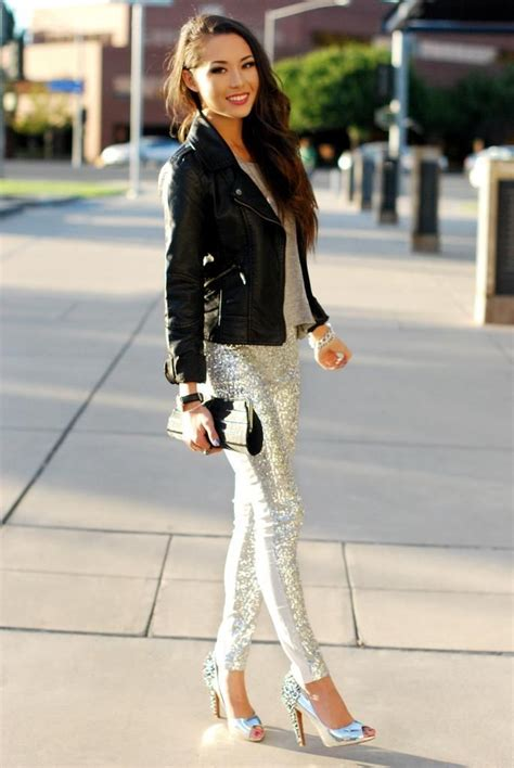 silver glitter pants high heels  black leather