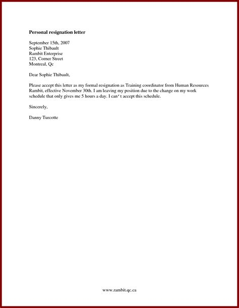 Resignation Letter Personal Reasons Immediate Resignation Letter Immediate Resignation Letter For