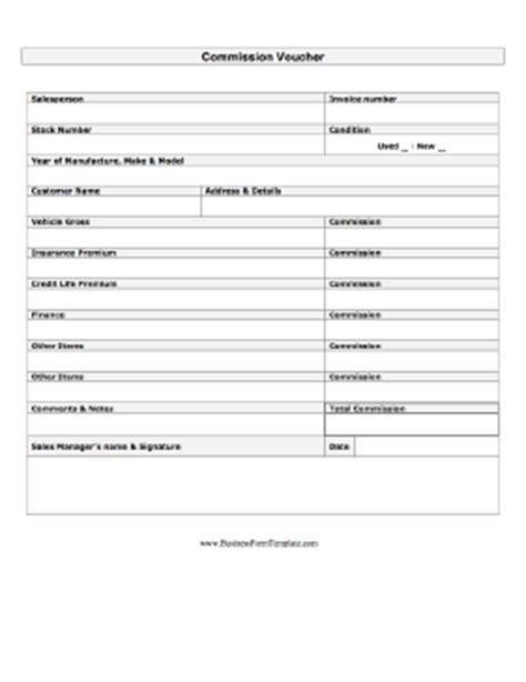 Commission Voucher Template Commission Payment Template