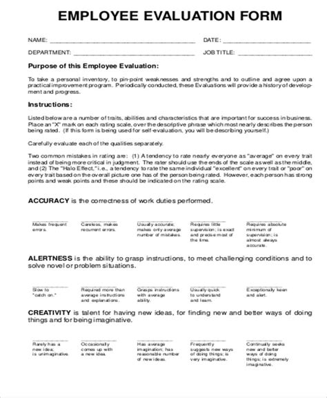 blank evaluation form template sle employee evaluation form in pdf 9 exles in pdf