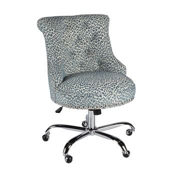 Leopard Office Chair - blue leopard upholstery rolling office chair with