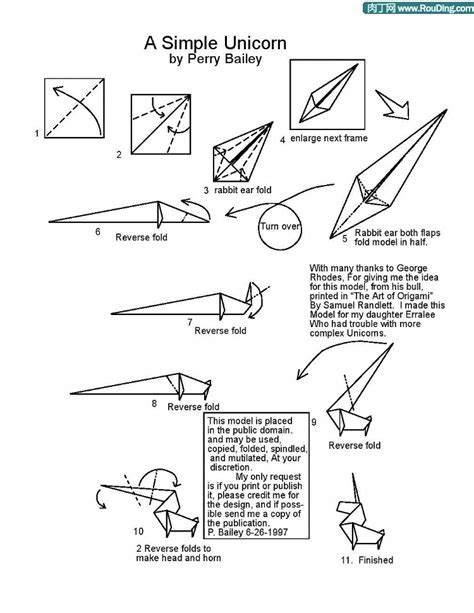 Origami Unicorn Diagram - unicorn and easy origami unicorns