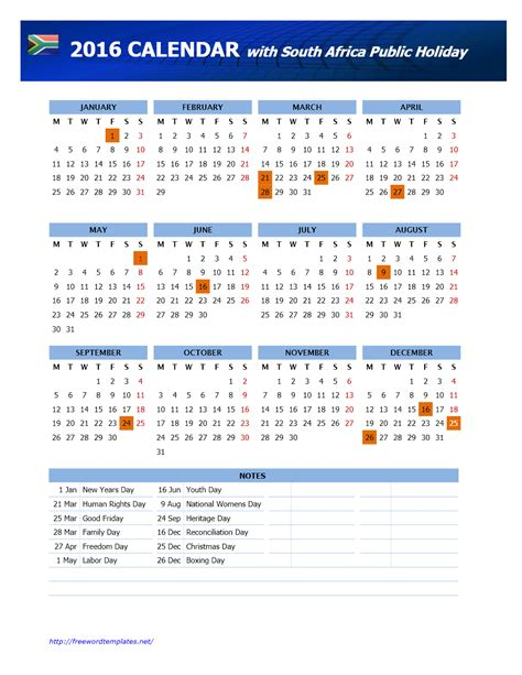 south african school terms and public holidays 2016 calendar freewordtemplates net