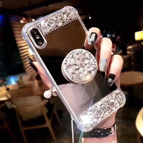 iphone       luxury fancy glaring sparkle shining diamond stand soft mirror anti