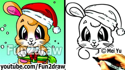 How to Draw Santa Bunny for Christmas (Real Time Drawing