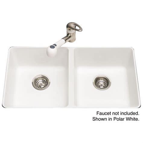 granite undermount kitchen sink shop kindred 18 125 in x 31 5625 in polar white