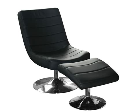 Hemsby Black Faux Leather Swivel Chair And Footstool Black Swivel Chair