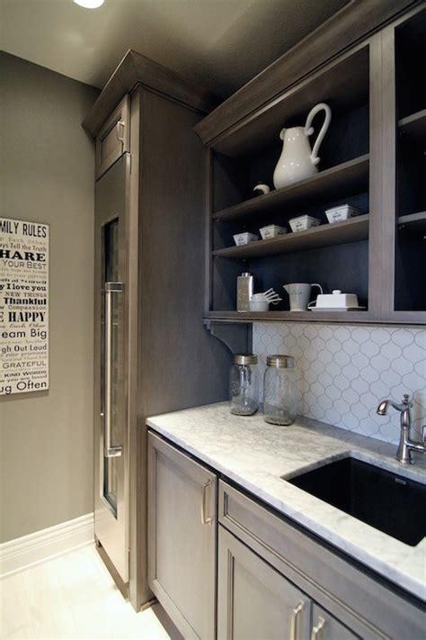 butlers pantry  wine fridge transitional kitchen