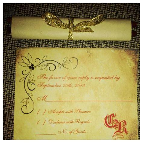 renaissance scroll wedding invitations diy renaissance scroll wedding invites and rsvp cards