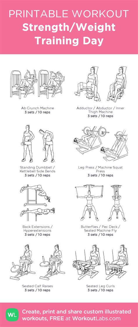 strength weight day illustrated exercise plan created at workoutlabs click for