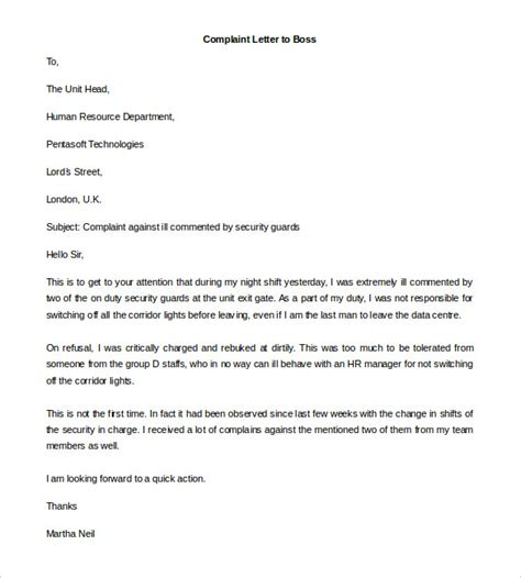 Formal Complaint Letter Against Manager formal complaint letter to employer cover letter sle 2017