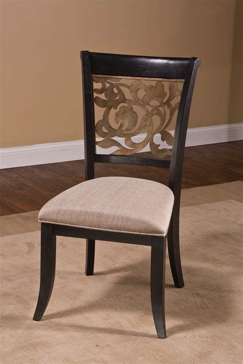 Hillsdale Dining Chairs Hillsdale Bennington Dining Chair Black Distressed Gray Putty Fabric 5559 802