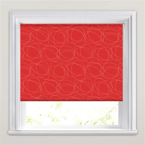 red patterned roller blinds bright vibrant red white swirling patterned roller blinds