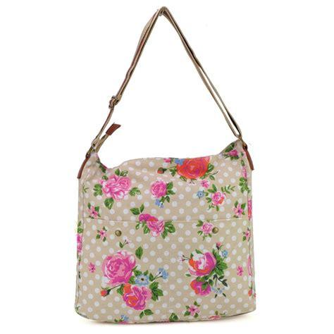 Crt Bag Flower beige polka dots and flower print canvas bag shoulder