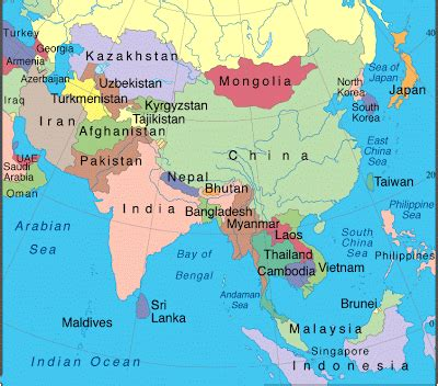 political map of southern asia map of asia pictures asia continent consists of many