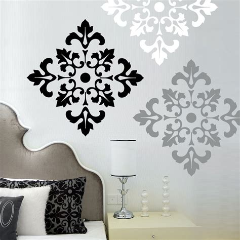 Bedroom Wall Decal Wall Decals Damask Wall Decals By | elegant bedroom ideas with large black white grey damask