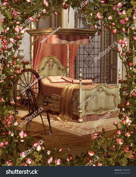 sleeping beauty bedroom sleeping beautys bedroom stock illustration 79090000