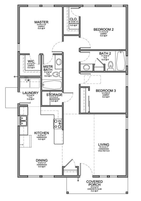 3 bedroom floor plans floor plan for a small house 1 150 sf with 3 bedrooms and 2 baths for