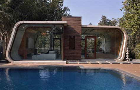 modern pool house minimalist concrete shell pool house overlooks lush
