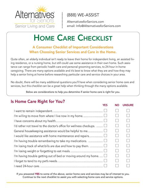 Home Care Checklist   Alternatives For Seniors