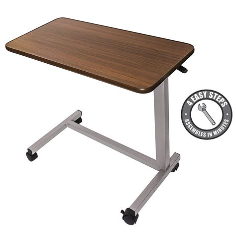 overbed table with wheels hospital medical adjustable overbed bedside table with