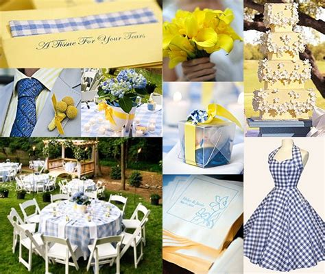 blue and yellow wedding cocktail
