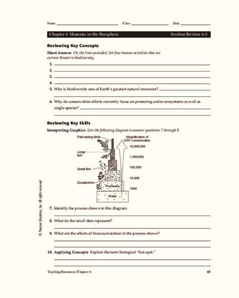 Humans In The Biosphere Worksheet