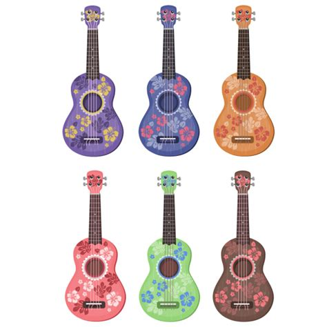 colorful ukulele 6 ukulele tattoos colors and hibiscus flowers designs