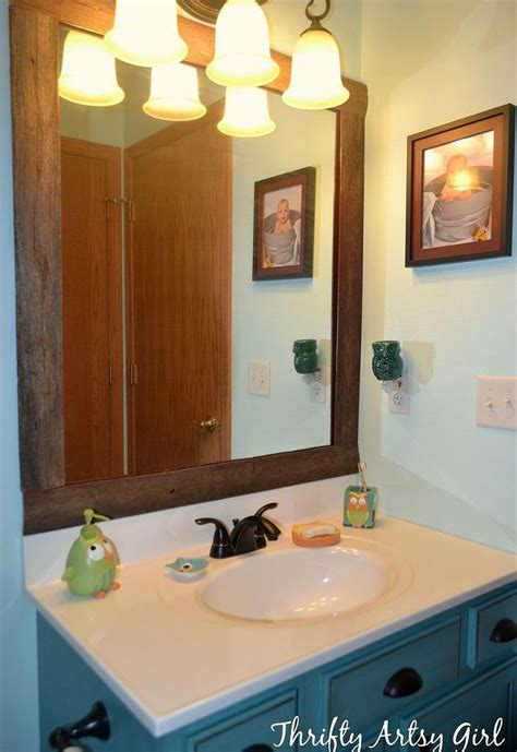 diy bathroom mirror frame ideas easy diy reclaimed wood frame on a builders grade mirror