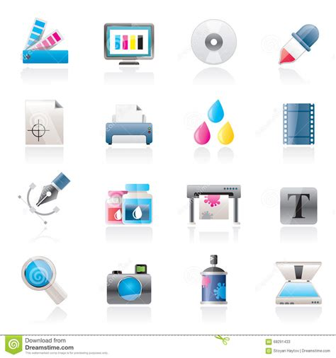web design icon kit print industry and graphic design icons stock vector