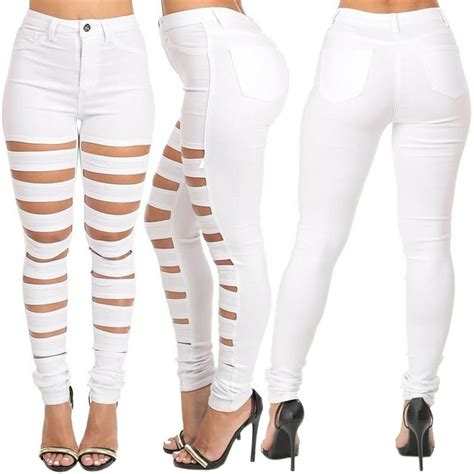 Apparel Lab Womens Ripped White white color for destroyed holes denim harem ripped pencil