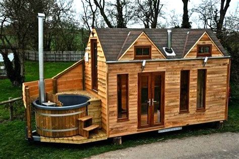 tiny home on wheels plans lloyd s blog tiny cabin on trailer with outdoor hot tub