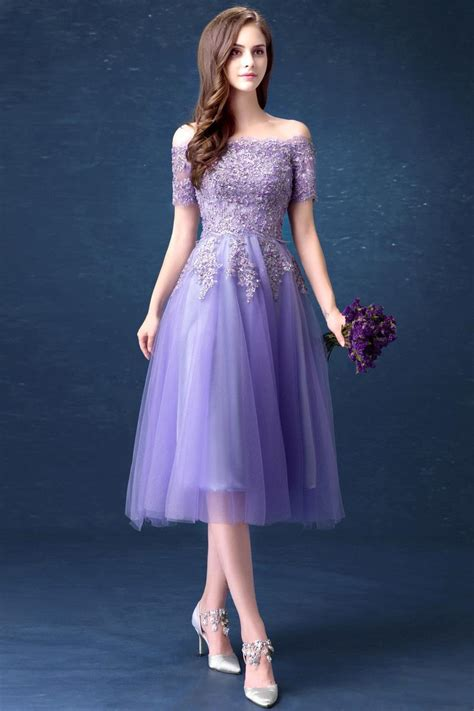Off The Shoulder Half Sleeve Lavender Bridesmaid Dresses Cheap Tulle Evening Gown $99 Dresses