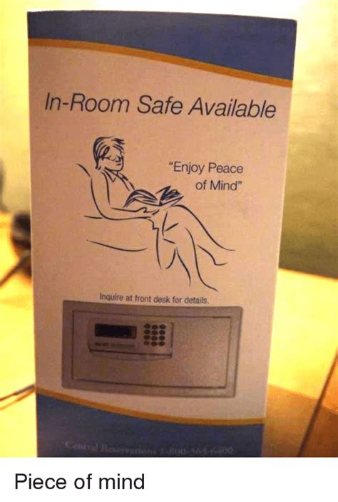 Front Desk Signs In Room Safe Available Enjoy Peace Of Mind Inquire At