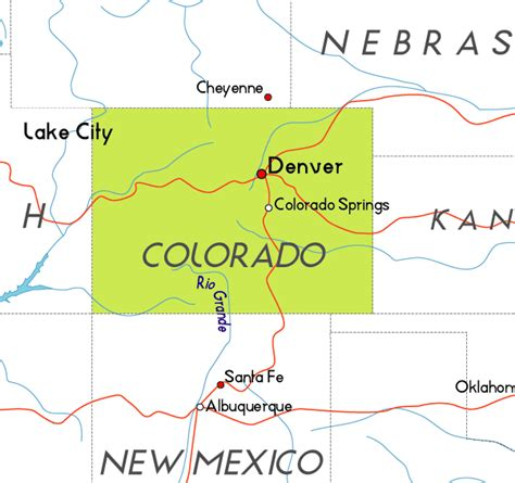 colorado in usa map borders of the united states
