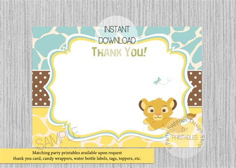 printable lion king thank you cards baby simba lion king baby shower thank you card instant
